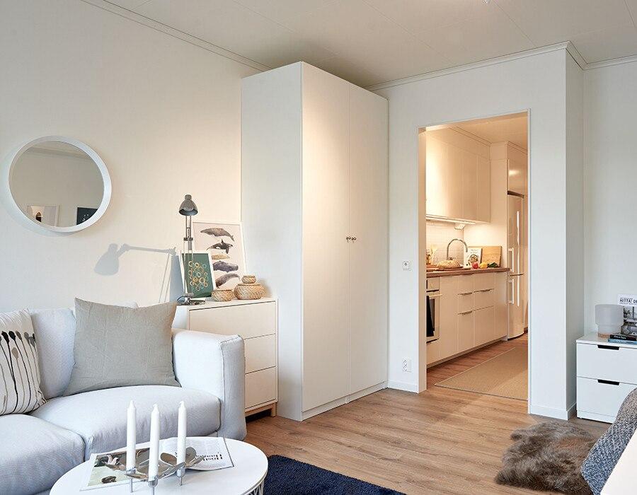 Интерьер квартиры-студии 30 м с проходной кухней.