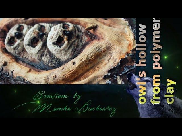 Owl's hollow form polymer clay/3 sowy w dziupli