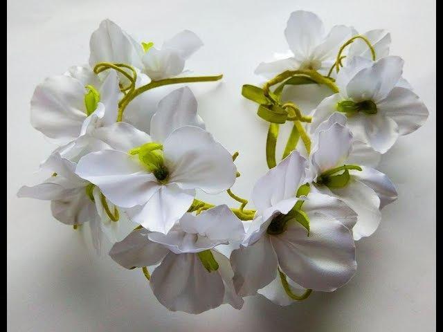 МК Вінок і браслет з орхідеями з атласної стрічки/ Венок и браслет с орхидеями из атласной ленты