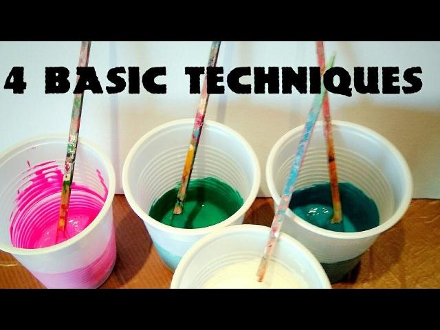 Fluid-Art: The 4 BASIC TECHNIQUES. Puddle pour, dirty pour, flip cup, swipe. Acrylic paint pouring