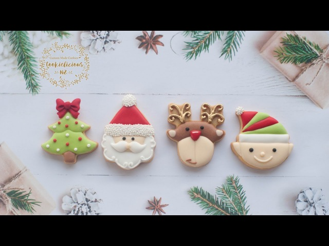 How to make CHRISTMAS MINI COOKIES - Learn to make Santa, Elf, Rudolf and Christmas Tree cookies