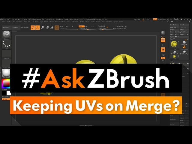"""AskZBrush: """"Is there a way to merge Subtools together and keep UVs?"""""""