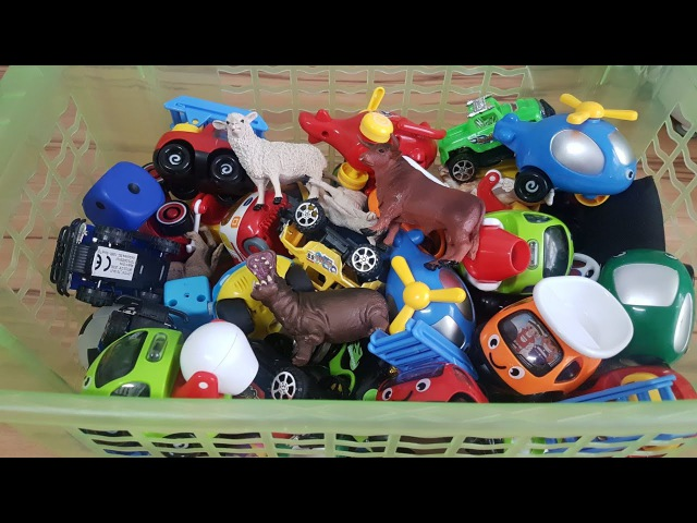 Box Full of Toys: Figures, Animals, Vehicles, Cars - Video for Kids