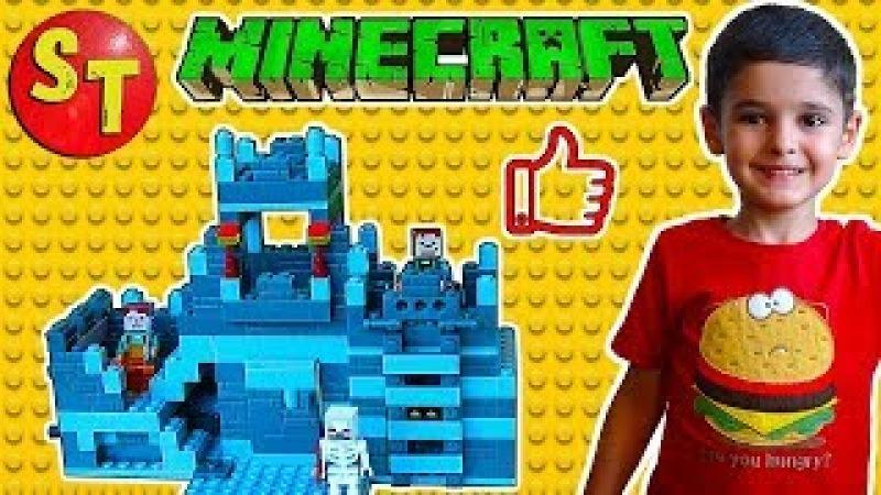 Майнкрафт крепость из блоков фигурки, скелет и жители. Клон ЛЕГО | Minecraft LEGO clone funn...