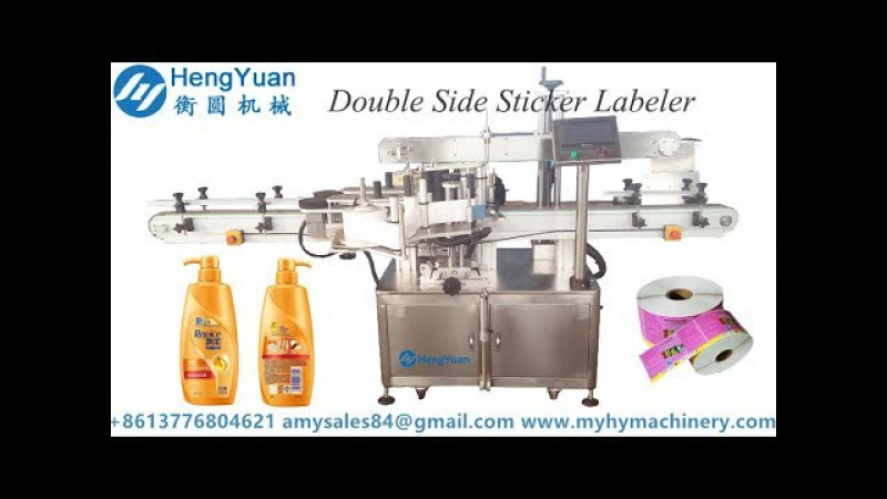 Automatic front and backside double sides labeling machine for shampoo bottle label applicator