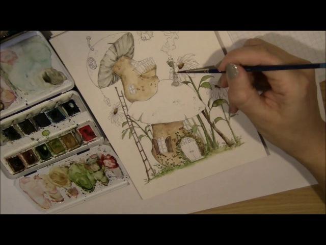 Watercolor illustration | Mushroomhouses | by LadyKikki