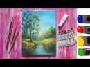 Рисуем дерево у реки акрилом