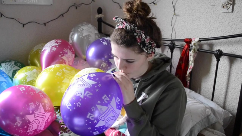 Victoria Alice - Trying to Blow Up 21 Balloons in Secret