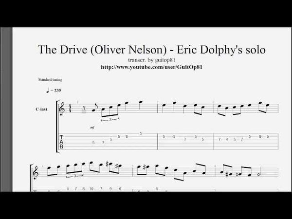 Eric Dolphy solo transcription - The Drive