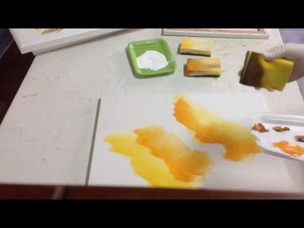 Pequena amostra de como pintar telas com esponja com Luiza Sartori video 1.