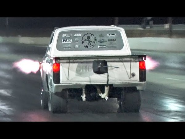 This LITTLE truck uses A TON of Nitrous!