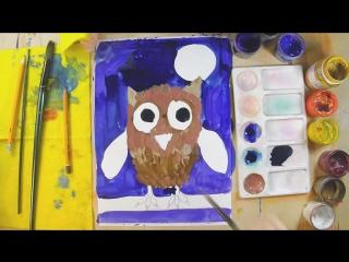 Как нарисовать СОВУ. Урок рисования для детей 4-6 лет.