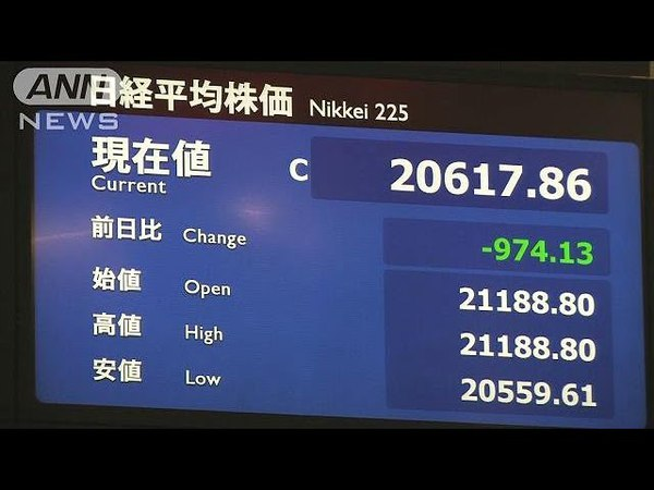 米中貿易戦争の懸念で・・・株価終値2万617円 974円安(180323)