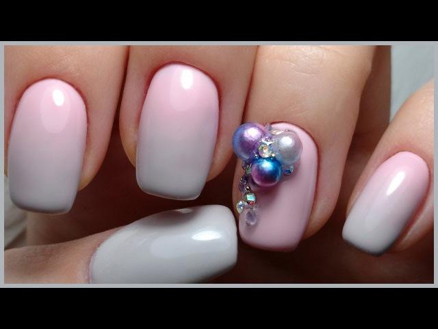 Градиент Китайской КИСТЬЮ Объемная Инкрустация на ногтях Дизайн Ногтей ОМБРЕ