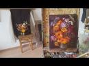 Букет садовых цветов. Процесс создания этюда.