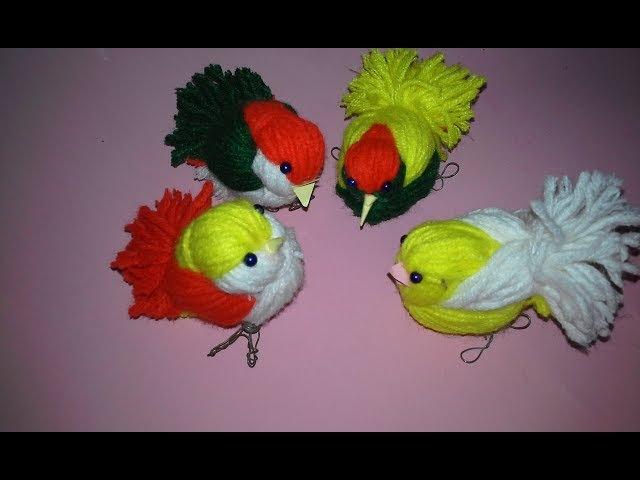 DIY Woolen Birds Wall Hanging for Home Decoration Woollen Bird making Jute Craft Idea