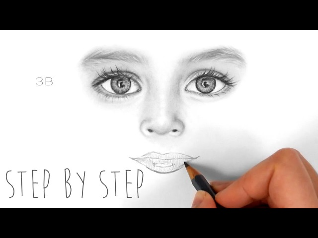 Step by Step | How to draw shade realistic eyes, nose and lips of a child | Emmy Kalia