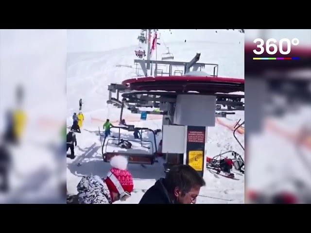 В Грузии на курорте Гудаури сломался подъемник