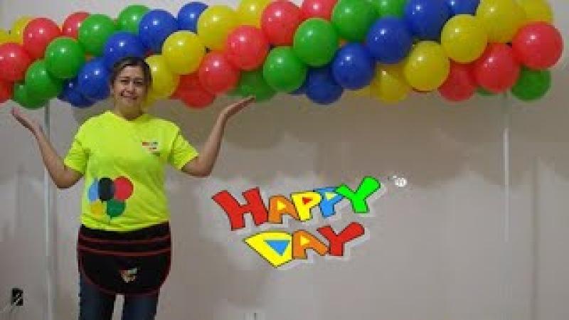 Arco de balões espiral com 4 cores tema vingadores (guirlanda de balões 4 cores)