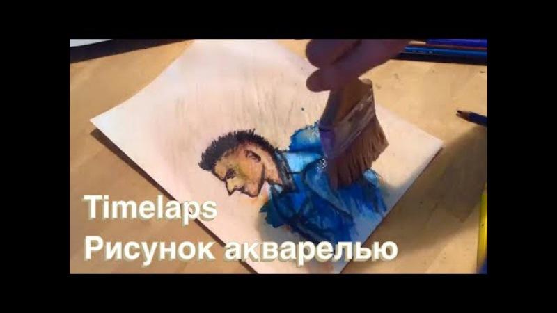 Ускоренный рисунок - портрет акварельными карандашами таймлапс