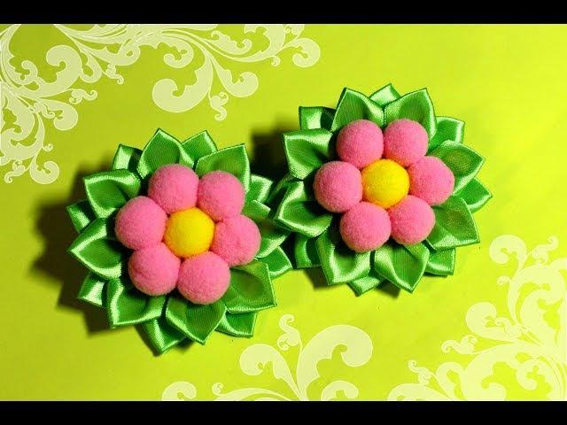 БЫСТРО и НАРЯДНО! заколки канзаши с цветами из помпонов