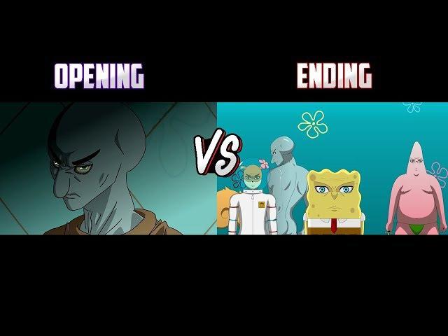 Comparación Bob Esponja Anime Opening Vs Ending 1
