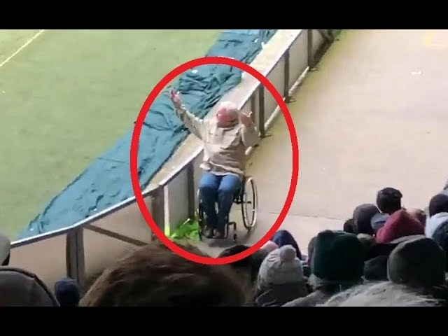 Hilarious Moment Footie Fan Leaps Out of Wheelchair in 'Miracle Recovery' to Celebrate Plymouth.