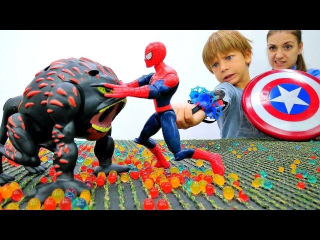 ЧеловекПаук vs Теутан! Ловушка для МОНСТРА 🔫 Бластер с паутиной Спайдермен Вид ...