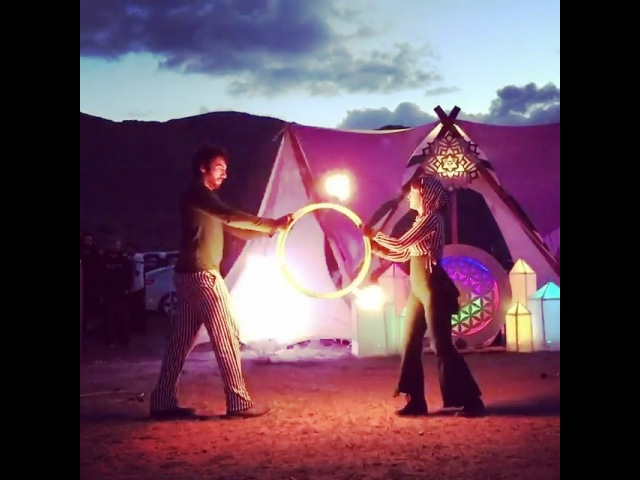 """The Spinsterz on Instagram: """"Check out @albinoplant and @atomic_moose fire hoop duet at @universalflowgathering 🔥⭕ . You can watch the full video ..."""