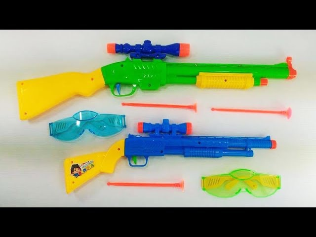 Learn Color with Box of Toys! Colored toy guns for kids and children!