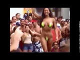 Bikini contests in Miami Beach, Florida - Vanessa & Hazell wearing thongs