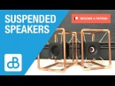 Stereo Speakers Suspended in Copper Pipe Frame by SoundBlab