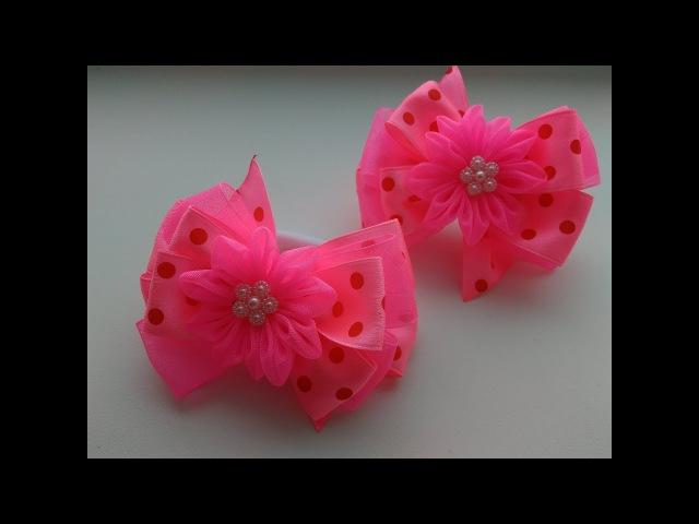 Розовые бантики из атласных лент и органзы МК Канзаши /Pink ribbons of satin and organza Kanzashi