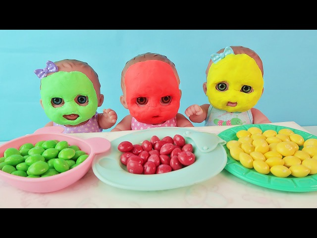Learn colors with Baby Dolls and Colorful Candy Finger Family Songs For Kids зырики тв куклы пупсики