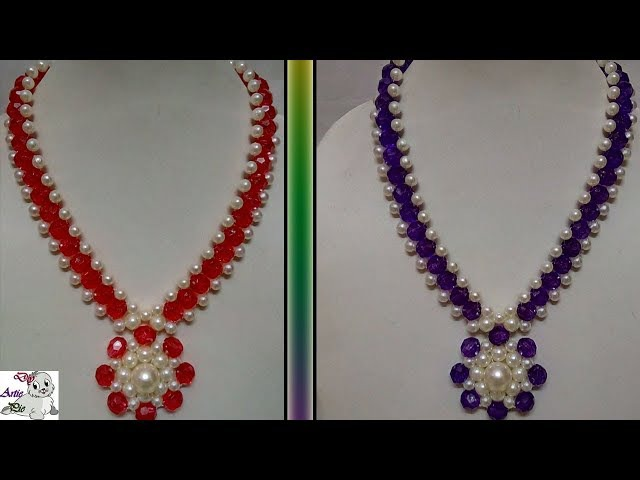 80 How to Make Pearl Beaded Necklace    Diy    Jewellery Making