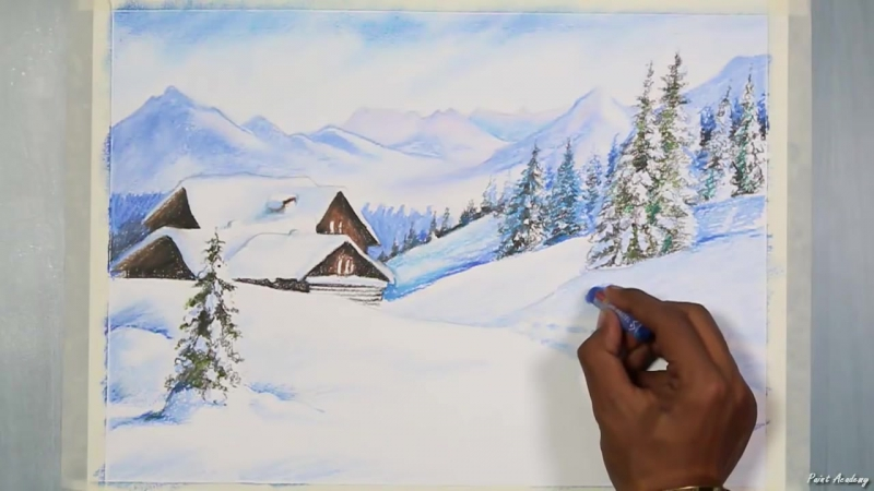 1 How to Paint a Winter Landscape in Oil Pastel