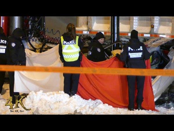 Montreal: Accident camion de déneigement / Snow removal truck crash 1-8-2018