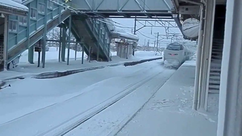 Awesome bullet train on snow Shinkansen in Japan