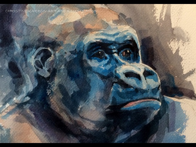 Watercolor sketch SPEEDPAINT Gorilla Painting by Ch.Karron