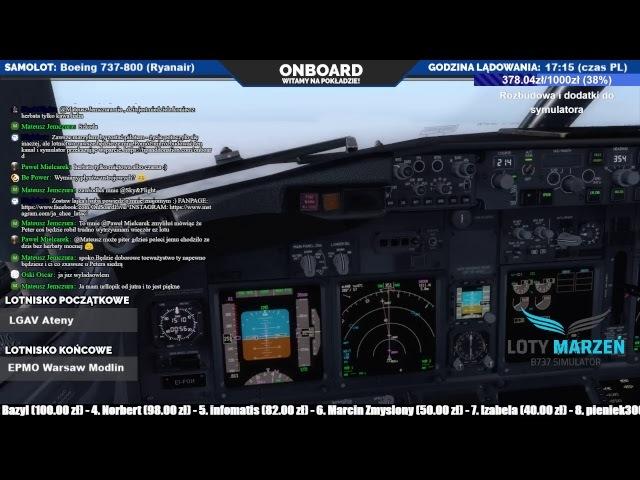P3D 4.1 EDDF Frankfurt - LGAV Ateny - EPMO Modlin | Boeing 737-800 | VATSIM | PMDG | LIVE | PL