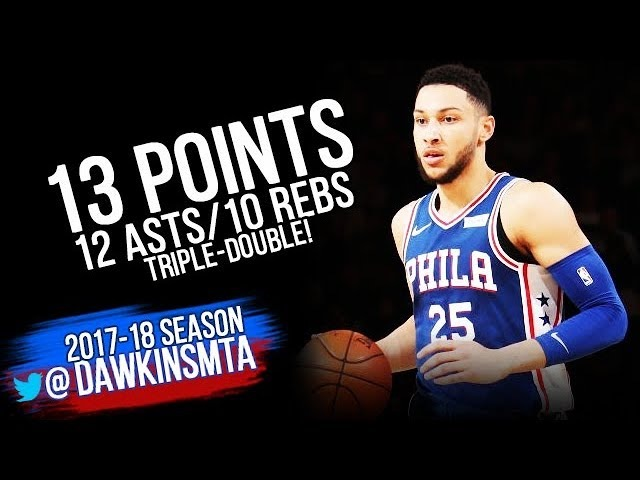 Ben Simmons Triple Double 2018 3 15 Philadelphia 76ers at NY Knicks 12 13 10 FreeDawkins