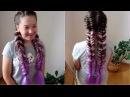 Рыбий хвост с канекалоном Цветные косы Видео урок