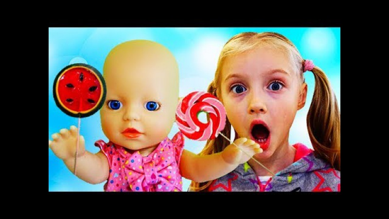 Bad Baby Born Doll Eating Candies Nursery Rhymes Songs for Kids