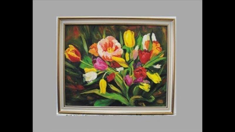 Тюльпаны маслом на холсте поэтапно. Tulips. Painting. Picture