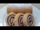 Рулет бисквитный с вареньем Очень вкусно и быстро Roll biscuit with jam Very tasty and quick