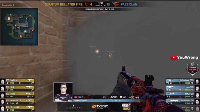 [YouWrong] FaZe vs Quantum Bellator Fire (Mirage) ELEAGUE MAJOR Boston - HIGHLIGHTS