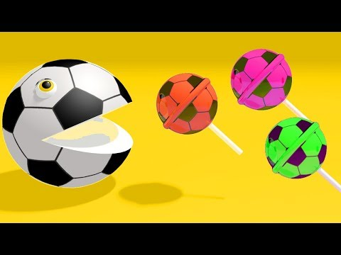 ✿ Learn Colors with PACMAN and 3D Lollipop Cricket Balls Balloons for Kids