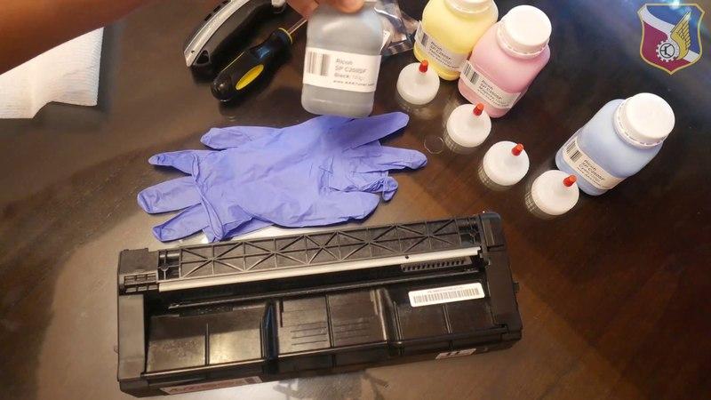 How to refill Ricoh Aficio laser toner cartridge SP C220 C231n sf C232sf C311n C312dn C242sf C250
