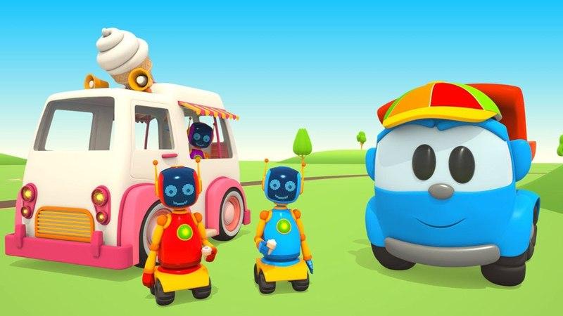 Leo il camion curioso con i robot fa il camioncino dei gelati