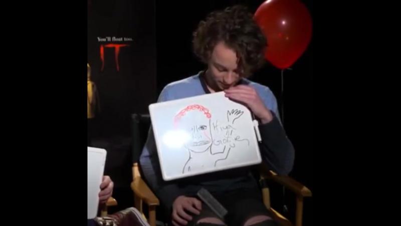 Wyatt Oleff draws his scariest clown
